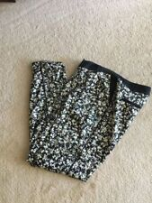 LADIES casual PANTS Esprit size Small black & green pink floral satiny