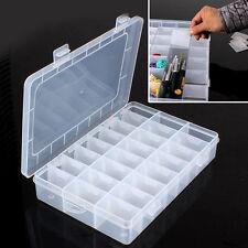 Plastic 24 Slots Adjustable Jewelry Storage Box Case Craft Organizer Beads New
