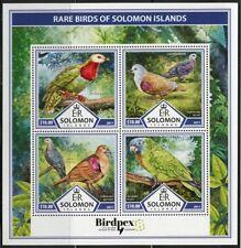 SOLOMON ISLANDS 2017  BIRDPEX RARE BIRDS OF SOLOMON ISLANDS SHEET MINT NH