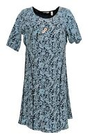 Isaac Mizrahi Live! Dress Sz M Scroll Knit Jacquard Fit & Flare Blue A293930