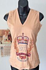 vintage old stock unworn cotton V neck disco vest ~ 1977 silver jubilee ~M 12-14