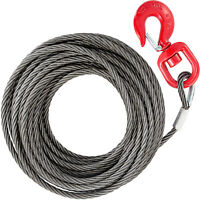 10mm x 15m Steel Core  Winch Cable with Swivel Hook Tow 4400lbs Safety