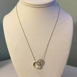 """Tiffany & Co. Sterling Silver Double Ring Pendant Necklace T & Co 1887 17.75"""" L."""