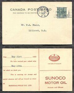 VANCOUVER 1923 Postal Card. Sunoco Motor Oil ADVERTISING        (inv:p1929s)