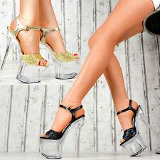Damen High Heels Plateau Hot LACK Schuhe Club-Party GOGO GLITZER Pumps SeXy K38
