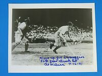 AL MILNAR SIGNED 8x10 PHOTO w JOE DIMAGGIO 56th Game Streak ** 100% GUARANTEE