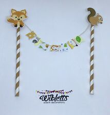 MINI BUNTING BANNER BIRTHDAY CAKE TOPPER WOODLAND FOREST ANIMAL FOX SQUIRREL OWL