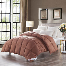 Goose Down Duvet/Comforter Twin Size Warm and Soft 100%Cotton Cover Coffee Solid