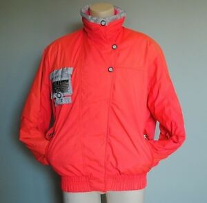 WOMENS ULTIMA VINTAGE HOT PINK NEON ROFFE SKI WINTER SNOW JACKET SIZE 12 90's