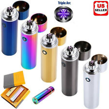 Electric USB Rechargeable Triple Arc 6 Cross Plasma Windproof Flameless Lighter
