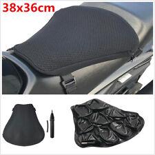 Black 38x36cm XL Motorcycle Bike Air-filled Comfort Seat TPU Cushion With Pump