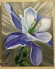 Columbine Flower, Hand-Painted Art, Oil Painting on Canvas