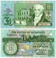 Banknote  Guernsey - One Pound 1991, Uncirculated Crispy Pick# 52c LOW SERIAL