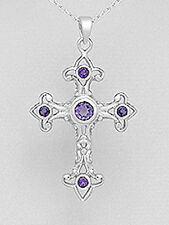 Solid Sterling Silver 46mm Amethyst Cross Necklace Pendant 5.4g