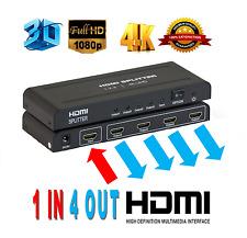 Full HD 3D 4K HDMI Splitter 1X4 4 Port Hub Repeater Amplifier v1.4 1 in 4 out