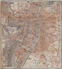 Lyon lyon antique ville city plan de la ville. rhône carte. baedeker 1914 carte