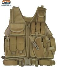 Coyote Cross Draw Tactical Vest Security Airsoft Paintball Webbing Army Airsoft