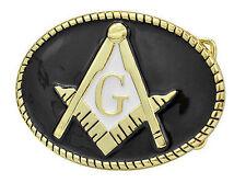 Freemason Belt Buckle / Masonic Buckle - Black and Colorful Lasso Rounded Design