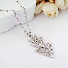 18K White Gold Filled Triangle Fashion Swarovski Crystal Tree Pendant Necklace