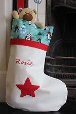 Personalizzato Di Natale calza PINGUINI Large & ricamato-UK Fatto a mano