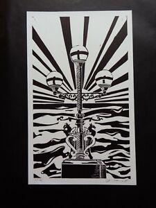 Original Limited edition linocut Trefechan lamp Aberystwyth Sun rays & Sea 10/10