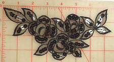 "12 black embroidered organza appliques with 3 roses design sequins 7.5"" x 4"""