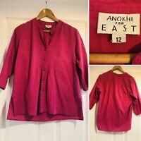 ANOKHI For EAST Size 12 Pink KAFTAN STYLE Tunic Top Blouse Shirt 100% Cotton