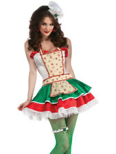 Womens Adult Sexy Christmas Ginger Bread Sweetie Chef Costume Medium 10-12