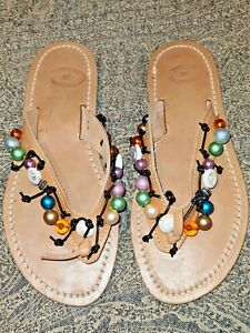Jewelled Leather Thongs / Sandals - Size 38 - NEW