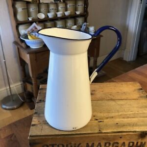 Vintage Tall White Enamel Jug / Pitcher – Blue Trim – Good Condition! –