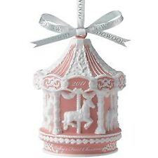 Wedgwood 2011 Christmas Ornament Baby's First X-Mas Pink Carousel New