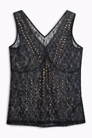 NEXT- VINTAGE- BLACK FLORAL LACE STUD PARTY TOP VEST BLOUSE UK 8 10 12 14 16 NEW