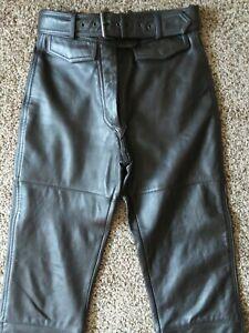 VTG Hein Gericke Harley-Davidson Women's Black Leather Biker Pants w/ Belt-Sz 12