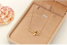 "Sideways Cross 16"" or 18"" Necklace Silver Gold Stainless Steel Pendant Gift PE11"
