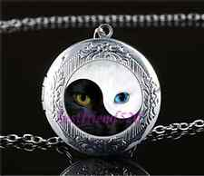 Ying and Yang Cat Eye Cabochon Glass Tibet Silver Locket Pendant Necklace