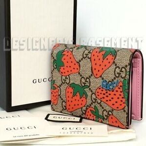 GUCCI Supreme STRAWBERRY GG coated Canvas pink Leather Mini wallet NIB Auth $600