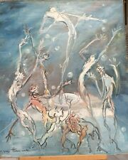 """Original vintage oil painting on board, bubbles, dance macabre, Signed, 24"""""""