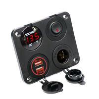 Rot LED USB Schaltpanel Zigarettenanzünder Steckdose Ladegerät Für Boot Bus RV #