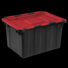 6 PACK Hinged Lid Industrial Stacking Tote Storage Box Container 12 Gallon Bin