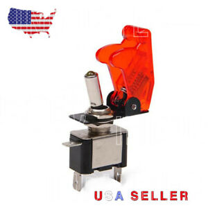 Heavy Duty 20 AMP -Toggle Switch SPST On-Off RED LED and safety Flip aircraft