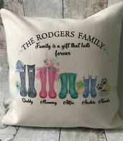 Personalised Linen Cushion Welly Boot Family Wellington Wedding Gift New Home