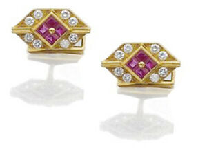 1.60CT BRILLIANT CUT DIAMOND RUBY 14K SOLID YELLOW GOLD CUFF LINK FOR MEN