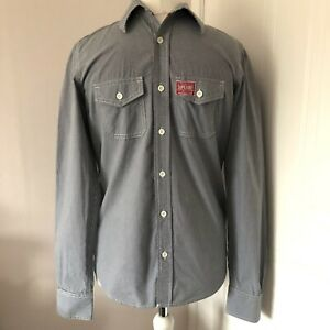 Men's Superdry Blue & White Checked Long Sleeved Shirt Size M 100% Cotton