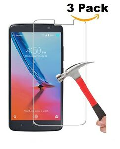 LOT OF 3 TEMPERED GLASS SCREEN PROTECTOR FOR ZTE MAX XL, MAX BLUE, BLADE MAX 3