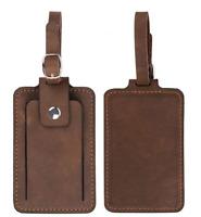 travel luggage handbag baggage suitcase ID tag cow Leather handmade brown z843