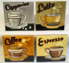 YH ARTS FOUR PIECE PORCELAIN COASTERS OR DISPLAY TILE PLAQUE SET - COFFEE - 566