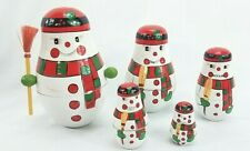 Wood Snowman w/Broom Nesting Stacking Dolls Christmas Winter Decoration Toy 5 Pc