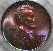 Pcgs Ms 64 Rb 1941-D Lincoln Cent - Awesome Violet Toning!