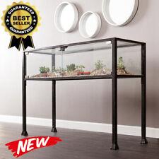 Showcase Terrarium Console Table 2 Door Style Magnetic Closure Metal Tube Black