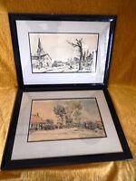 paire tableau peinture paysage Saint Omer peintre marine Louis Chervin français